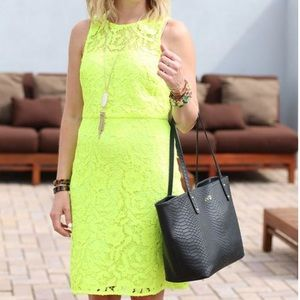 {J.Crew Collection} Neon Lace Shift Dress